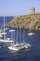 - Capraia island (Tuscan Archipelago) yachts moored in the bay under the Genoese tower....- isola di Capraia (Arcipelago Toscano), barche ancorate in rada sotto la torre genovese