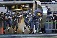 02 Jan 2005:Seattle Seahawks mascot Blitz leads the Seattle Seahawks out onto the field against the Atlanta Falcons at Quest field in Seattle, WA.