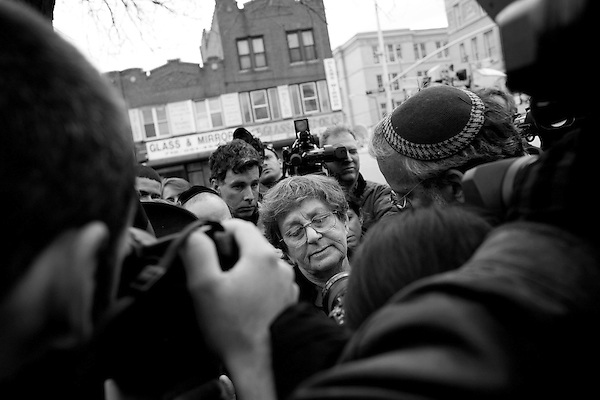 Wednesday, April 18,  2007, Brooklyn, New York..A funeral was held in Brooklyn for Professor Librescu, a holocaust survivor and teacher at Virginia Tech, who was killed in the shootings on Monday.. His widow, Marlena Librescu, center, attended the services at Shomrei Hachomos in Borough Park...