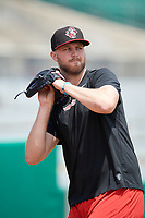 Arkansas Travelers pitcher Max Povse (33) throws in the outfielder during practice before a game against the Frisco RoughRiders on May 28, 2017 at Dickey-Stephens Park in Little Rock, Arkansas.  Arkansas defeated Frisco 17-3.  (Mike Janes/Four Seam Images)