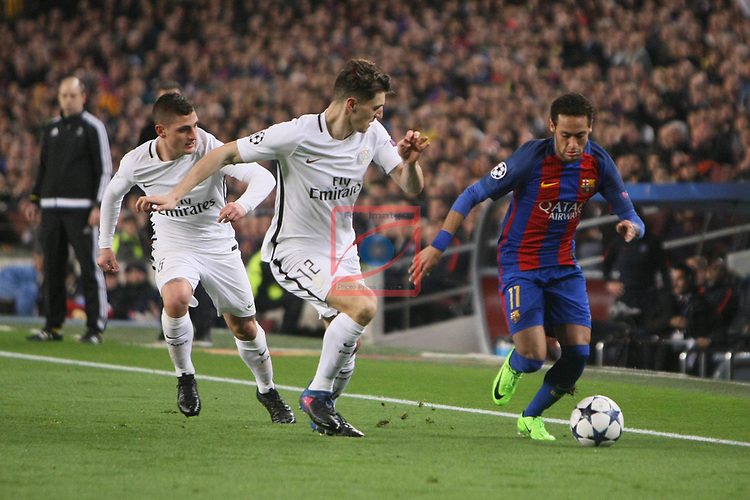 UEFA Champions League 2016/2017.<br /> Round of 16 2nd leg<br /> FC Barcelona vs Paris Saint-Germain: 6-1.<br /> Marco Verratti, Thomas Meunier &amp; Neymar Jr.