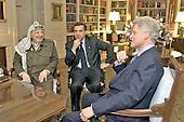 United States President Bill Clinton Meets With Palestinian Authority Chairman Yassir Arafat (along with Chairman Arafat 's Press Secretary Nabil Aburedina) in the White House Library in Washington, D.C. on January 2, 2001.    .Mandatory Credit: William Vasta - White House via CNP