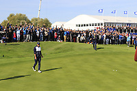 Brooks Koepka (Team USA) misses his birdie putt on the 17th green during Saturday's Fourball Matches at the 2018 Ryder Cup 2018, Le Golf National, Ile-de-France, France. 29/09/2018.<br /> Picture Eoin Clarke / Golffile.ie<br /> <br /> All photo usage must carry mandatory copyright credit (© Golffile | Eoin Clarke)