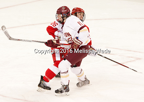 Connor Galway (BU - 26), Caitrin Lonergan (BC - 11) - The Boston College Eagles defeated the visiting Boston University Terriers 5-3 (EN) on Friday, November 4, 2016, at Kelley Rink in Conte Forum in Chestnut Hill, Massachusetts.The Boston College Eagles defeated the visiting Boston University Terriers 5-3 (EN) on Friday, November 4, 2016, at Kelley Rink in Conte Forum in Chestnut Hill, Massachusetts.