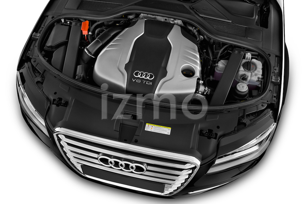 High angle engine detail of a 2013 Audi A8 L W12 4 Door Sedan 4WD