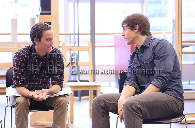 Luke Marinkovich and Derek Klena perform at the 'The Bridges of Madison County' Media Day at the New 42nd Street Studios on December 16, 2013 in New York City.