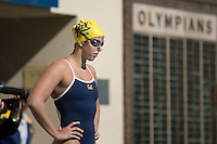 Berkeley, CA - February 11, 2017: #2 Cal Bears Women's Swimming vs #1 Stanford Cardinal at Spieker Aquatics Complex.  Final score Stanford Cardinal 177, Cal Bears 123
