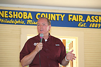 Mississippi State President Mark E. Keenum discusses the university's accomplishments and vision for the future today [July 26] at the Neshoba County Fair.<br /> (photo by Lisa Sollie / &copy; Mississippi State University)