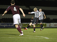 Jack Smith shoots in the St Mirren v Heart of Midlothian Clydesdale Bank Scottish Premier League U20 match played at St Mirren Park, Paisley on 6.11.12.