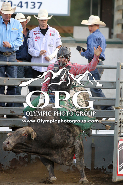 20 Aug 2014:  Jeff Askey scored a 74 while competing in the first round of the Seminole Hard Rock Extreme Bulls competition at the Kitsap County Stampede in Bremerton, Washington.