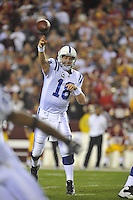 17 October 2010:  Colts QB Peyton Manning (18) throws..The Indianapolis Colts defeated the Washington Redskins 27-24 at FedEx Field in Landover, MD.