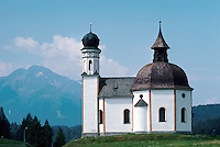 small Baroque village church. traditional architecture, religions, Christianity. Seefeld Tyrol Austria.