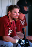 OAKLAND, CA:  Jeff Bagwell of the Houston Astros in the dugout during a game against the Oakland Athletics at the Oakland Coliseum in Oakland, California in 2001. (Photo by Brad Mangin)