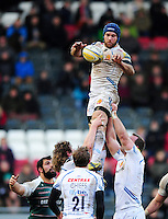Julian Salvi of Exeter Chiefs wins the ball at a lineout. Aviva Premiership match, between Leicester Tigers and Exeter Chiefs on March 6, 2016 at Welford Road in Leicester, England. Photo by: Patrick Khachfe / JMP