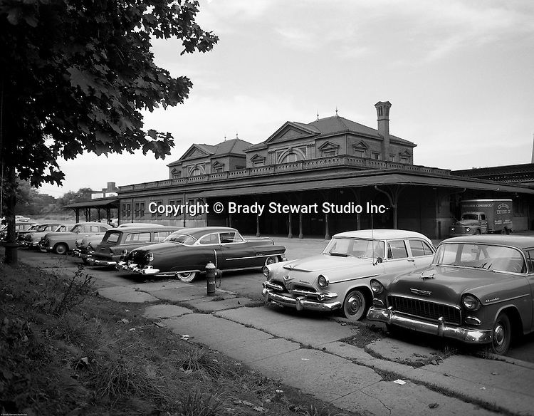 Pittsburgh PA - View of PA Railroad's East Liberty Station and parking lot - 1957.