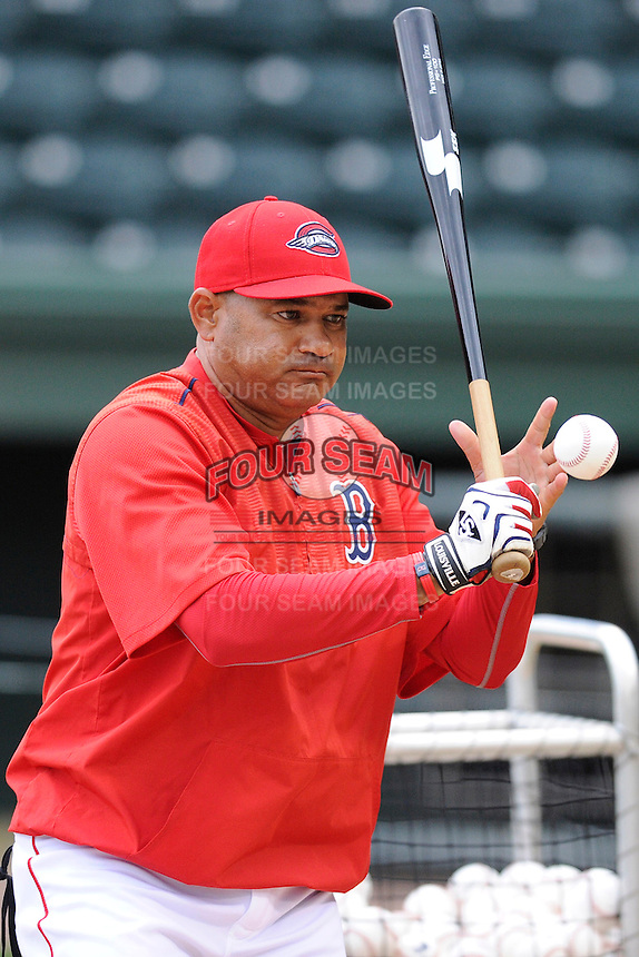 Hitting coach Nelson Paulino (22) of the Greenville Drive during a Media Day first workout of the season on Tuesday, April 7, 2015, at Fluor Field at the West End in Greenville, South Carolina. (Tom Priddy/Four Seam Images)