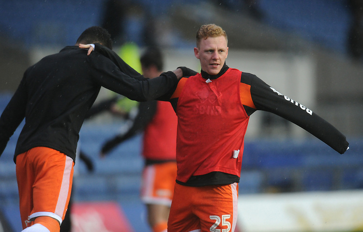 Blackpool's Callum Guy during the pre-match warm-up <br /> <br /> Photographer Kevin Barnes/CameraSport<br /> <br /> The EFL Sky Bet League One - Oxford United v Blackpool - Saturday 15th December 2018 - Kassam Stadium - Oxford<br /> <br /> World Copyright © 2018 CameraSport. All rights reserved. 43 Linden Ave. Countesthorpe. Leicester. England. LE8 5PG - Tel: +44 (0) 116 277 4147 - admin@camerasport.com - www.camerasport.com