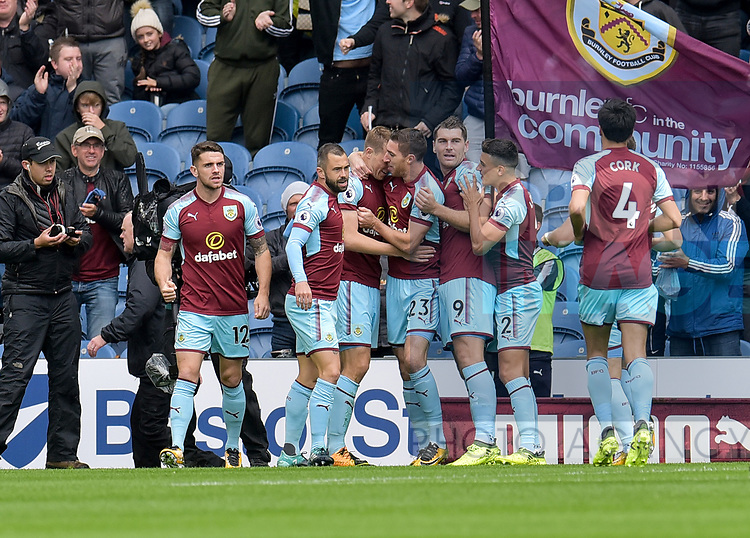 Burnley's Chris Wood celebrates scoring their first goal during the premier league match at the Turf Moor Stadium, Burnley. Picture date 10th September 2017. Picture credit should read: Paul Burrows/Sportimage