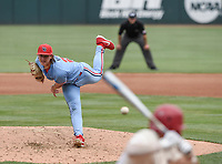 NWA Democrat-Gazette/CHARLIE KAIJO Ole Miss Doug Nikhazy (26) throws a pitch during game two of the College Baseball Super Regional, Sunday, June 9, 2019 at Baum-Walker Stadium in Fayetteville. Ole Miss forces a game three with a 13-5 win over the Razorbacks