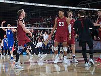 STANFORD, CA - March 2, 2019: Jordan Ewert, Jaylen Jasper, Kyler Presho, Kyle Dagostino at Maples Pavilion. The Stanford Cardinal defeated BYU 25-20, 25-20, 22-25, 25-21.