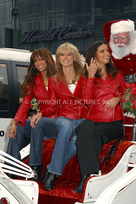 Supermodels Tyra Banks, Heidi Klum and Adriana Lima arrive at the grand opening of Victoria's Secret new store in Herald Square. New York, November 19, 2002. Please byline: Alecsey Boldeskul/NY Photo Press.   ..*PAY-PER-USE*      ....NY Photo Press:  ..phone (646) 267-6913;   ..e-mail: info@nyphotopress.com