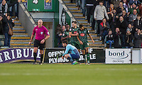 Jake Jervis of Plymouth Argyle (right) celebrates scoring his side's second goal with Connor Smith and Jordan Slew of Plymouth Argyle during the Sky Bet League 2 match between Plymouth Argyle and Wycombe Wanderers at Home Park, Plymouth, England on 26 December 2016. Photo by Mark  Hawkins / PRiME Media Images.