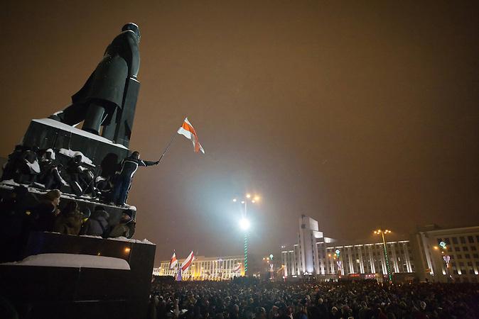 19.12.2010 Protest gegen die Ergebnisse der Präsidentschaftswahlen auf dem Platz der Unabhängigkeit in Minsk / Protest against presidential election results on Independence Square in Minsk