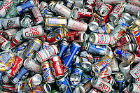 Aluminum cans collected for recycling. Houston Texas.