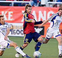 Real Salt Lake MF Kyle Beckerman and KC Wizards DF Aaron Hohlbein, Jonathan Leathers in the 0-0 draw between Real Salt Lake and Kansas City Wizards, June 7, 2008 at Rice-Eccles Stadium in Salt Lake City, Utah