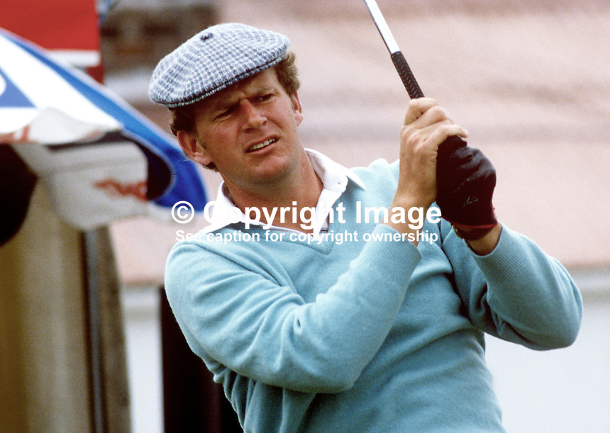 Sandy Lyle, professional golfer, Scotland, UK. Taken at Carrolls Irish Open 1985. 19850606SL1..Copyright Image from Victor Patterson, 54 Dorchester Park, Belfast, UK, BT9 6RJ..Tel: +44 28 9066 1296.Mob: +44 7802 353836.Voicemail +44 20 8816 7153.Skype: victorpattersonbelfast.Email: victorpatterson@me.com.Email: victorpatterson@ireland.com (back-up)..IMPORTANT: If you wish to use this image or any other of my images please go to www.victorpatterson.com and click on the Terms & Conditions. Then contact me by email or phone with the reference number(s) of the image(s) concerned.