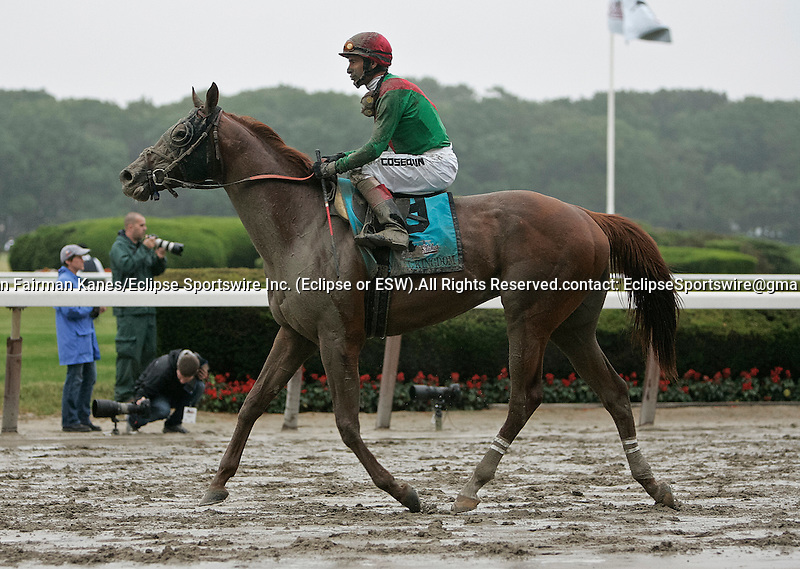 Animal Kingdom, who dropped to the back of the pack early in the race after being bumped and nearly falling, finished sixth in the Belmont Stakes, Belmont Park, Elmont, PA. June 11, 2011. John Velazquez up. (Joan Fairman Kanes/Eclipsesportswire)