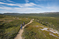 Female hikers hike on trail between Abiskojaure and Alesjaure, Kungsleden trail, Lapland, Sweden