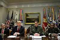 United States President Donald J. Trump talks to the media during a briefing on drug trafficking on the Southern Border at the White House in Washington on February 13, 2019. The President said the FAA will soon announce it is grounding the Boeing 737 MAX 8 and 737 MAX 9 &ldquo;Until further notice,&rdquo; he said  &ldquo;The safety of the American people, of all people, is our paramount concern.&rdquo;<br /> Credit: Yuri Gripas / Pool via CNP/AdMedia