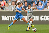 Bridgeview, IL - Sunday September 03, 2017: Danielle Colaprico, Debinha De Oliveira during a regular season National Women's Soccer League (NWSL) match between the Chicago Red Stars and the North Carolina Courage at Toyota Park. The Red Stars won 2-1.
