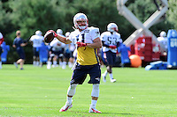 Wednesday, August 17, 2016: New England Patriots wide receiver Julian Edelman (11) throws the ball at a joint training camp session between the Chicago Bears and the New England Patriots held at Gillette Stadium in Foxborough Massachusetts. Eric Canha/CSM