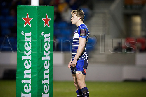 08.04.2016. AJ Bell Stadium, Salford, England. European Champions Cup. Sale versus Montpellier. Sale Sharks fullback Mike Haley watches the cation take shape