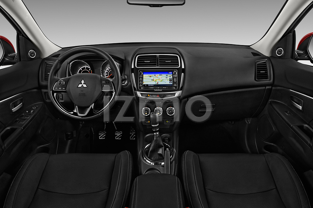Stock photo of straight dashboard view of 2017 Mitsubishi ASX Instyle 5 Door SUV Dashboard