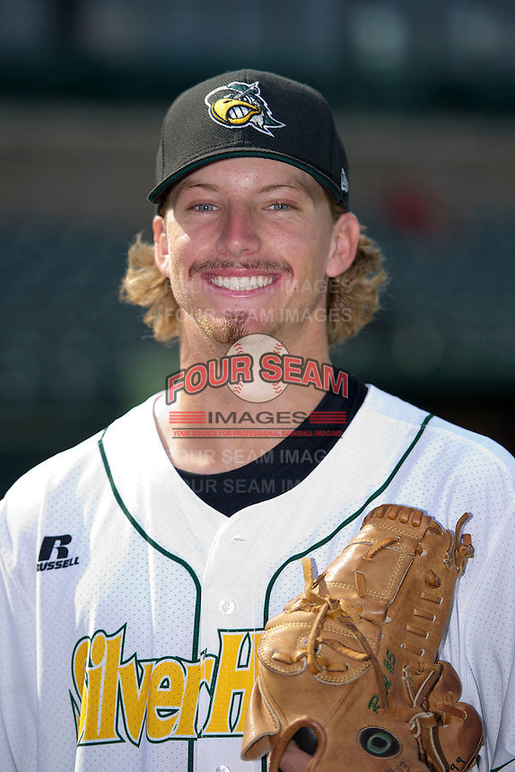 South Bend Silver Hawks pitcher Jimmie Sherfy (14) poses for a photo before a game against the Bowling Green Hot Rods on August 20, 2013 at Stanley Coveleski Stadium in South Bend, Indiana.  Bowling Green defeated South Bend 3-2.  (Mike Janes/Four Seam Images)
