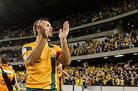 MELBOURNE, 11 JUNE 2013 - Lucas NEILL of Australia greet the crowd after winning their Round 4 FIFA 2014 World Cup qualifier match between Australia and Jordan at Etihad Stadium, Melbourne, Australia. Photo Sydney Low for Zumapress Inc. Please visit zumapress.com for editorial licensing. *This image is NOT FOR SALE via this web site.