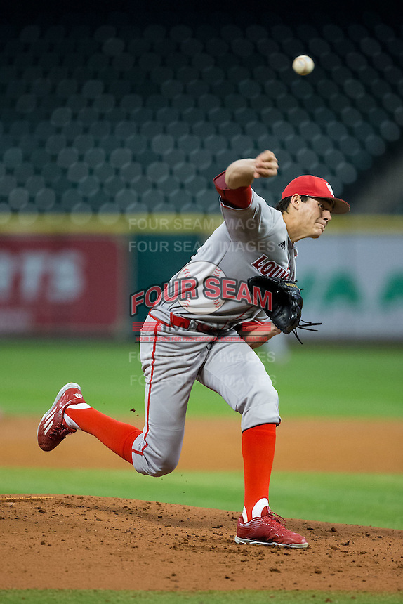 Louisiana-Lafayette Ragin' Cajuns starting pitcher Nick Lee (46) delivers a pitch to the plate against the Rice Owls in game nine of the Shriners Hospitals for Children College Classic at Minute Maid Park on February 28, 2016 in Houston, Texas.  The Ragin' Cajuns defeated the Owls 4-2.  (Brian Westerholt/Four Seam Images)