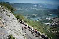 Up the spectacular Lacets du Grand Colombier (Cat1/891m/8.4km/7.6%)<br /> <br /> stage 15: Bourg-en-Bresse to Culoz (160km)<br /> 103rd Tour de France 2016