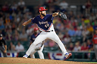 Rochester Red Wings relief pitcher Jake Reed (40) delivers a pitch during a game against the Pawtucket Red Sox on July 4, 2018 at Frontier Field in Rochester, New York.  Pawtucket defeated Rochester 6-5.  (Mike Janes/Four Seam Images)