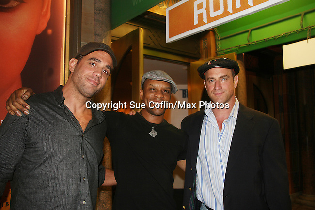 Guiding Light's Kevin Mambo stars in the play Ruined and poses with Bobby Canavale and Chris Meloni at The Manhattan Theatre Club at 131 55th St, New York City, New York. The play runs til September 6, 2009. (Photo by Sue Coflin/Max Photo)