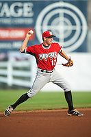 Carolina Mudcats shortstop Reed Harper (17) throws to first base during a game against the Frederick Keys on June 4, 2016 at Nymeo Field at Harry Grove Stadium in Frederick, Maryland.  Frederick defeated Carolina 5-4 in eleven innings.  (Mike Janes/Four Seam Images)