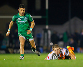4th November 2017, Galway Sportsground, Galway, Ireland; Guinness Pro14 rugby, Connacht versus Cheetahs; Tertius Kruger (Toyota Cheetahs) scrambles to get to the ball ahead of Tiernan O'Halloran (Connacht)