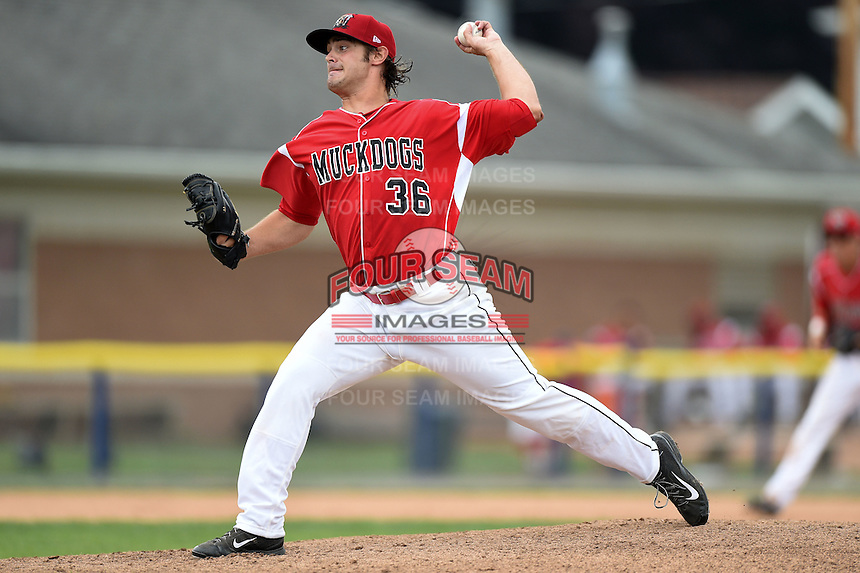 Batavia Muckdogs pitcher Ben Holmes (36) delivers a pitch during the first game of a doubleheader against the Connecticut Tigers on July 20, 2014 at Dwyer Stadium in Batavia, New York.  Connecticut defeated Batavia 5-3.  (Mike Janes/Four Seam Images)