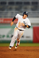 Tampa Yankees second baseman Billy Fleming (28) running the bases during a game against the Bradenton Marauders on April 11, 2016 at George M. Steinbrenner Field in Tampa, Florida.  Tampa defeated Bradenton 5-2.  (Mike Janes/Four Seam Images)