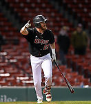 BOSTON, MA - APRIL 17: UMass' Logan Greene celebrates a walk-off sac fly in the in the Minutemen's 10-9 win over Harvard during the 30th Annual Baseball Beanpot Championship Game at Fenway Park in Boston, Massachusetts on April 17, 2019. Photo by Christopher Evans