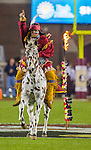 FSU mascot Osceola atop Renegade plant the spear before an NCAA college football game against Boston College in Tallahassee, Fla., Friday, Nov. 11, 2016.  Florida State defeated Boston College 45-7.