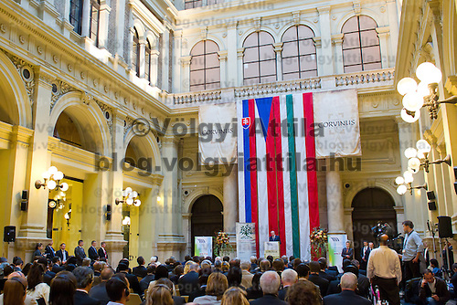 Ivan Gasparovic President of Slovakia delivers his speech during the Conference on the Economy Potence of the Central Europe region held at the Corvinus University in Budapest, Hungary on October 07, 2011. ATTILA VOLGYI
